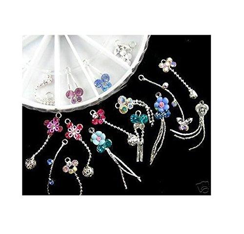 10x Piercing Dangle Nail Ring Colour Mix Piercing Chain Diamond Cute Nails