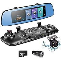 Dash Cam Rear View Mirror Car Camera, ADAS 4G 7.84 Wifi FM GPS Bluetooth Dual Lens Rear view Mirror Video Recorder Full HD 1080P Car Camera 32GB Card Car Charger
