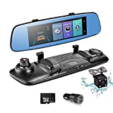 Dash Cam Rear View Mirror Car Camera, ADAS 4G 7.84'' Wifi FM GPS Bluetooth Dual Lens Rear view Mirror Video Recorder Full HD 1080P Car Camera 32GB Card Car Charger
