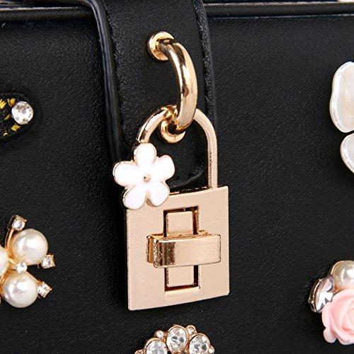 De Butterfly Diamond Womens Flower Lujo Embroidery Bolsa Bolso Black Cena Perlas dtx4Fqw