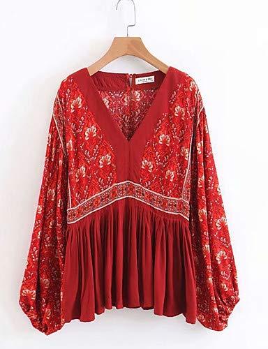 Yfltz Donna Vintage Floreale Camicetta Red Da Stampa awPaZnxRq