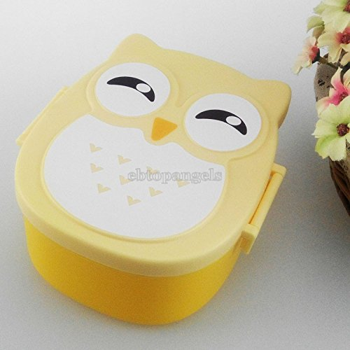 Owl Portable Bento Lunch Box Plastic Cute Cartoon Food Fruit Storage Container - Yellow