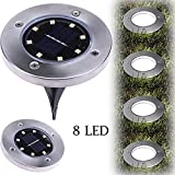 Solar Underground Light,FTXJ 8LED Power Buried Light Under Ground Lamp Waterproof Outdoor Path Way Garden Decking (Cool White)