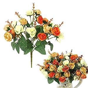 eu-knc 21 Heads Elegant Beautiful European Artificial Rose Simulation Silk Flowers Bouquet Home Wedding Decal,Orange 33