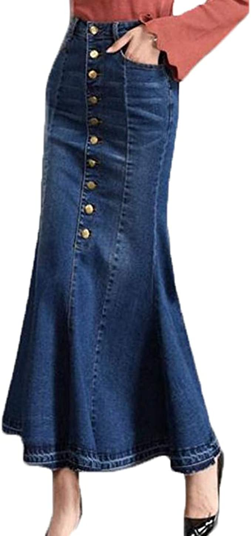 Donna Gonna di Jeans Gonna Lunga in Denim A Vita Alta met/à Davanti Abbottonatura Gonna Denim Vestito Casuale Gonna Svasata