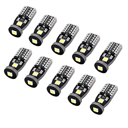 CZC AUTO 10PCS 3030 Chipset LED Bulbs T10 168 175 194 2825 for Exterior License Plate Side Marker Light Interior Courtesy Dome/Map Trunk/Cargo Underhood Glovebox Lamp Error Free Non Polarity Plug Play (Glove Box Lamp)