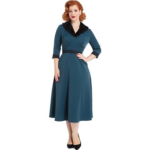 1950s Dresses, 50s Dresses | Swing, Wiggle, Pin Up Dresses Voodoo Vixen Meredyth Fur Collar Flare Dress Blue $78.99 AT vintagedancer.com