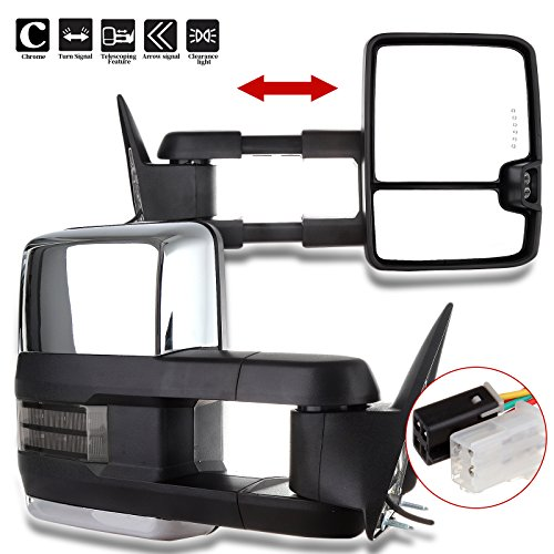 SCITOO Tow Mirrors fit 1988-1998 Chevy GMC C/K 1500 2500 3500 1992-1999 GMC C/K 1500 2500 Suburban Tahoe Yukon with Power Chrome Smoke Led Signals Pair Side Mirrors