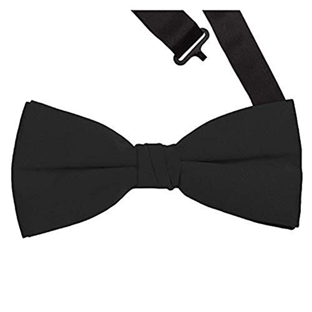 Formal Black Satin Banded Mens Bow Tie