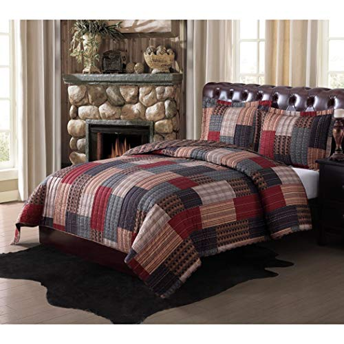 3pc Red Blue Patchwork King Size Quilt Set, Grey Green Brown Cabin Lodge Rustic Southwest Theme Bedding, Gray Checkered Square Rectangle Plaid Pattern Stripe, -