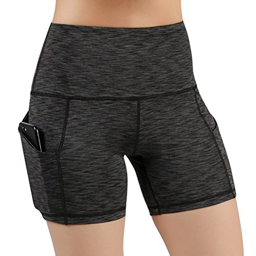 ODODOS High Waist Out Pocket Yoga Short Tummy Control Workout Running Athletic Non See-Through Yoga Shorts,SpaceDyeCharcoal,Large