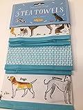 Set of 3 Milly Green Debonair Dogs 100% Cotton Tea Towels