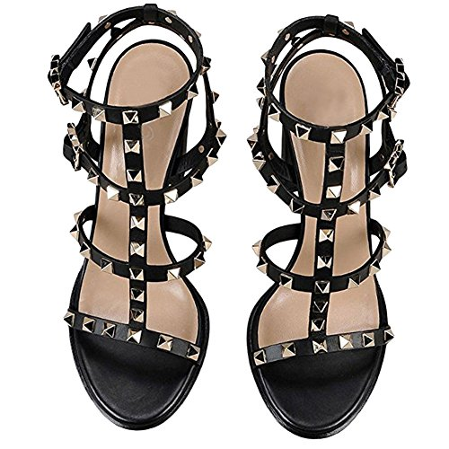 20ab1ddcd Sandals For Women,Rivets Studded Strappy Block Heels Slingback Gladiator  Shoes Cut Out Dress Sandals