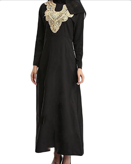 Coolred-Women Classic Embroidery Muslim Gowns Waist Party Maxi Dress ...