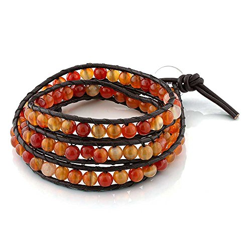 Gem Stone King 24inches Red Aventurine on Brown Leather Wrap Bracelet with Snap Button Lock