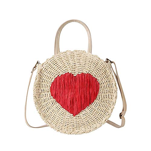 (SHUIBIAN Women Straw Summer Beach Bag Handwoven Round Rattan Bag Cross Body Bag with Tassel Bag Charm Key Chain (white) )