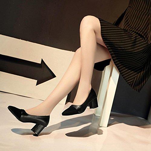 Heel Tacchi Neri Elegant Scarpe Igemy Sposa Fashion Punta A Casual Donna Da High P6aptxwq
