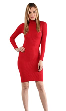 78a1ff5f29e New Womens High Neck Long Sleeve Sweater Dress (Large, Red) at ...