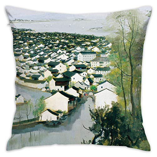 ANGEL P Water Towns Villages in China Throw Pillow Cover, Daily Decorative Throw Pillows Cases Sofa Bed Car Indoor Outdoor Home Decor 18x18 Inch 45x45 cm ()