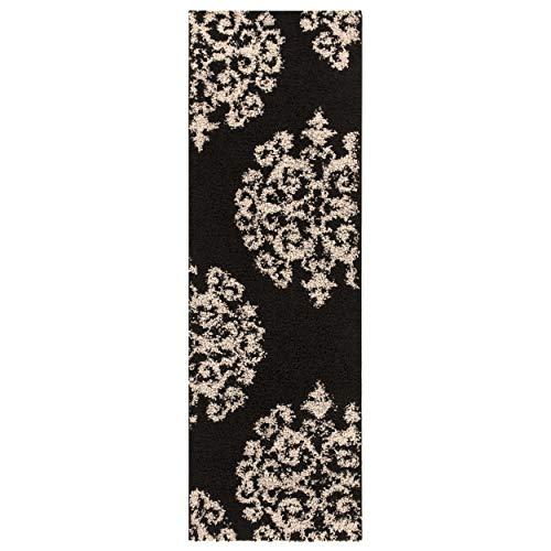 (Superior Victorian Collection Soft Shag Runner Rug 2.6' x 8' - Kitchen, Entryway, Hallway - Black-Charcoal)
