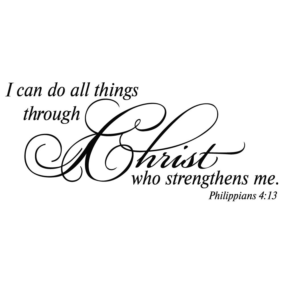 ZSSZ I can do All Thing Through Christ who Strengthens me. Philippians 4:13 Wall Decal Vinyl Christian Quotes Bible Scripture Inspirational Words Wall Stickers Religious Home Décor