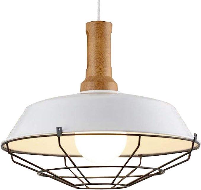 NIUYAO Suspension Lustre Abat-jour avec Grilles Industrielle Pendant Lampe Ceiling Light Chandelier R/églable-Blanc