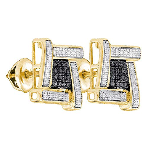 The Diamond Deal Yellow-tone Sterling Silver Mens Round Black Color Enhanced Diamond Square Cluster Earrings .03 -