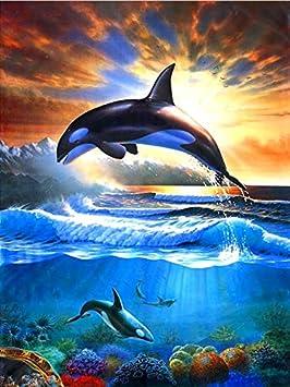 Geiqianjiumai 5D DIY、Delfines Saltando al Agua、Taladro
