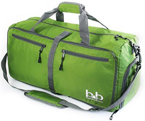 Medium Gym Duffle Bag with Pockets 60L - Foldable Lightweight Travel Bag for Women and Men (Dark Green)