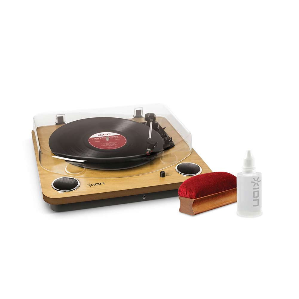 ION Audio Speed Belt Drive Turntable with Built-In Speakers and ION Audio Vinyl Alive Cleaning Kit with Cleaning Solution and Plush Velvet Pad Accessory Electronics Home Audio & Theater