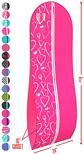 Ladies Garment - Women's Dress and Gown Garment Bag - Fuchsia and White Hearts -by Your Bags