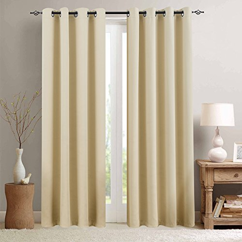 Room Darkening Curtain 84 inches Long for Living Room Moderate Blackout Window Curtain Panel for Bedroom Triple Weave Drape Grommet Top,52