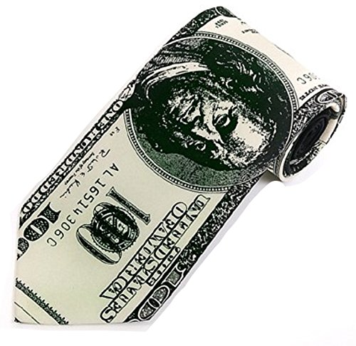 SNY Fathers Day Mens Money Novelty Necktie Holiday Gift (Black, White & Green)