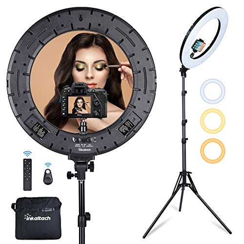 Inkeltech Ring Light – 18 inch 60 W Dimmable LED Ring Light Kit with Stand – Adjustable 3000-6000 K Color Temperature…