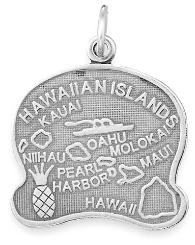 Sterling Silver Hawaii State Charm (Oxidized Sterling Silver Charm, State of Hawaii, 1 inch)