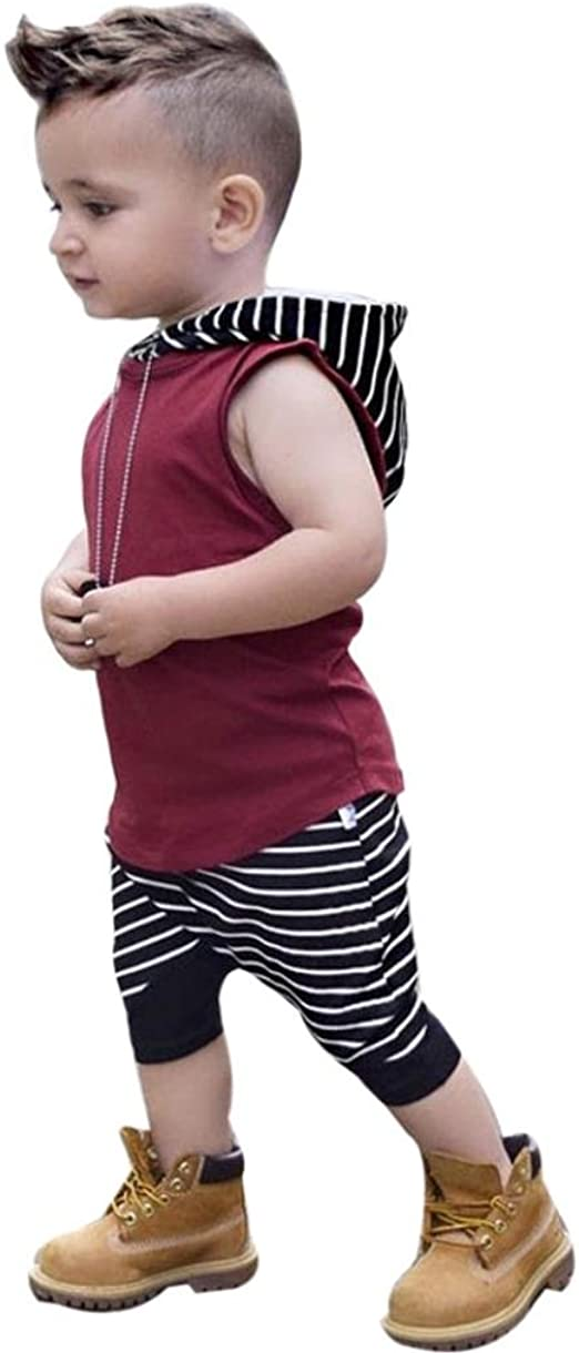 Striped Short Pants 2Pcs Outfit Set bilison Toddler Baby Boy Summer Clothes Sleeveless Hoodie Top