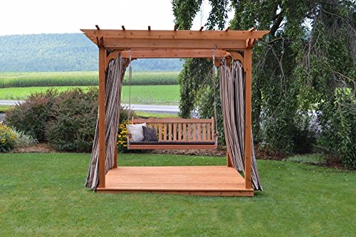 A&L Furniture Co. 6' x 8' Amish-Made Cedar Pergola with Deck and 6' Royal English Porch Swing, Redwood