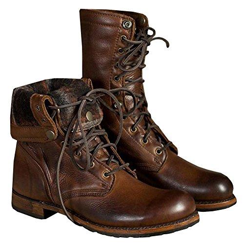 Hombres Estampación Medio Becerro Botas Cuero Zapatos marrón Con cordones Invierno Otoño Plano Moda Grande tamaño 39-46 Brown