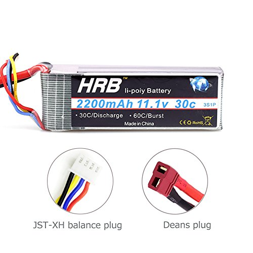 3S Lipo Battery 2200mAh 30C 11.1V with Dean T plug for RC Aircraft Qav 250 Helicopter Quadcopter (4.17 x 1.34 x 0.87 inch) by Ailikeji