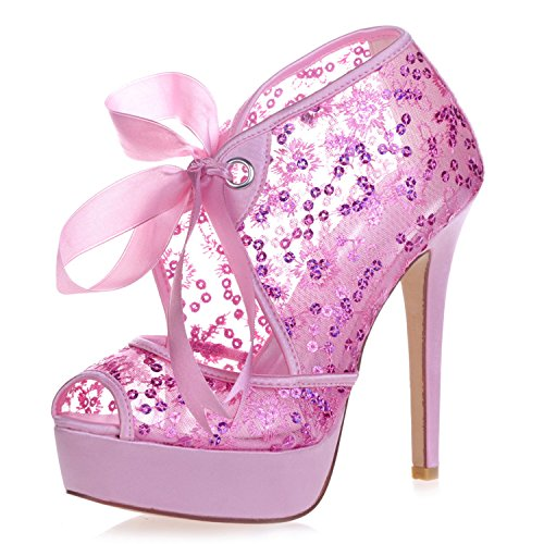 Elobaby Zapatos De Boda De Las Mujeres Cintas De Encaje Peep Toe Tacones Altos Zapatos De Fiesta TamañO/35-42 Talla/12.5 Talón