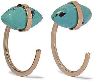 product image for Melissa Joy Manning 14k Gold Bezel Wrapped Turquoise Hug Earrings