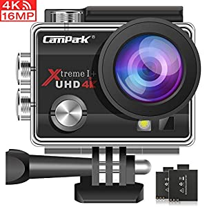 Campark ACT74 Action Camera 4K Ultra HD WiFi Sports for Vlog Underwater Cam Waterproof 30M with 170° Adjustable Wide Angle