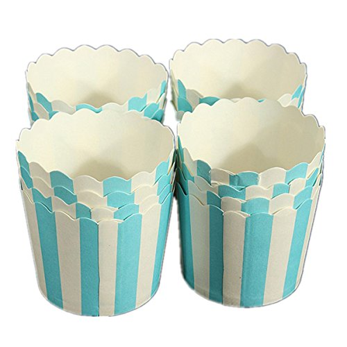 Paper Cake Case Baking Cups Liner Muffin Dessert Cup Blue Striped - Baking Cups ()