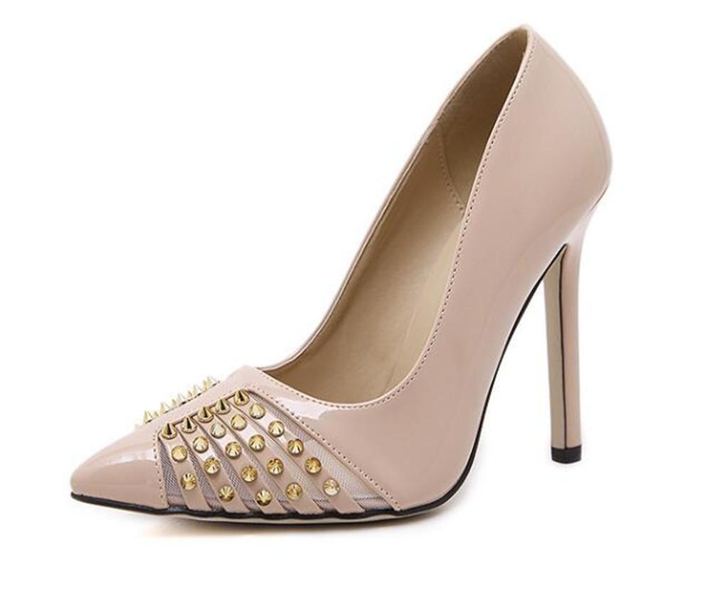 XIE Spitzen Toe Court Schuhe Heavy Metal scharfen Nieten Shallow Mouth Dünn mit High-Heels Niedriger, Um Einzelne Schuhe zu Helfen