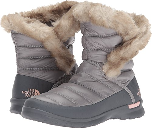 The North Face Women's Thermoball Microbaffle Bootie II Shiny Frost Grey/Evening Sand Pink (Past Season) 8 B US