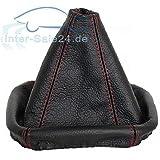 L&P A0026 Soufflet Sac Manchette manchon de commutation 100% cuir véritable veritable noir noire couture fil rouge transmission manuelle boîte boite vitesse vitesses changement vitesse