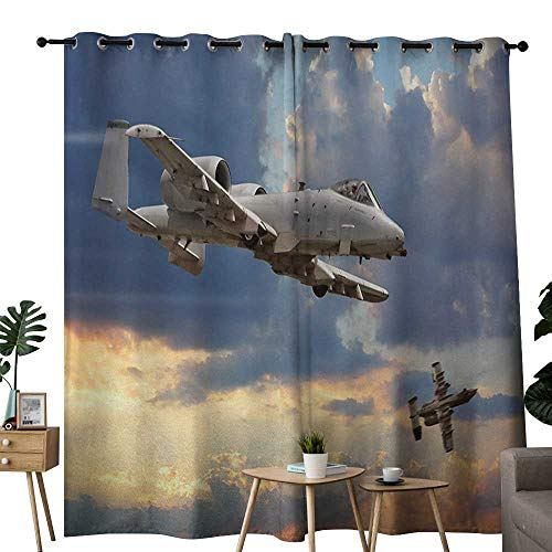"Beihai1Sun Living Room/Bedroom Window Curtains Airplane Peacekeepers Mission Jet Up International Military Force Combat Flight Picture Embossed Thermal Weaved Blackout 96"" W x 72"" L Blue Silver"