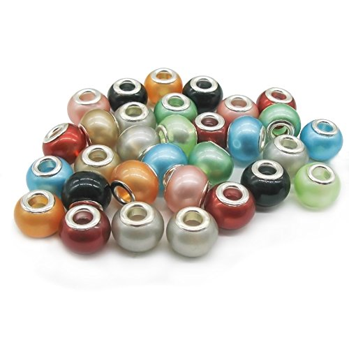 TOAOB 50pcs Lampwork Beads Assorted Large Hole 14mm for Ladies European Snake Charm Bracelet