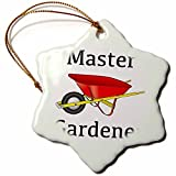 Hanging Ornament by Valentine Herty Master Gardener Gardening Wheelbarrow Snowflake Ornament Porcelain, 3-Inch 3 Inches Porcelain
