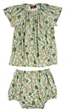 MilkBarn Bamboo Cotton Short Sleeve Dress and Bloomer Set Blue Floral 6-12 Month